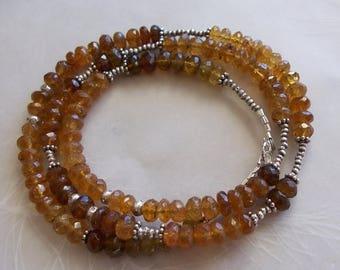 "ON SALE Caramel Tourmaline Gemstone Wrap Bracelet Necklace ~ Thai Hill Tribe Fine Sterling Silver ~ Long 21"" ~ Faceted Rondelle Beads"