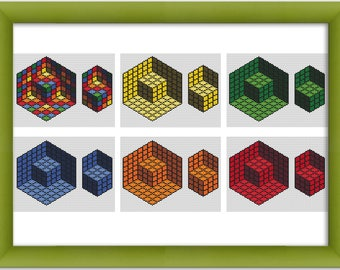 "PDF Cross Stitch Pattern ""Cube Optical Illusion""  Instant Download"