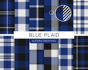 Blue Plaid digital paper, plaid, tartan, buffalo, check, checkered, lumberjack, gingham, fabric, scrapbook papers (Instant Download)