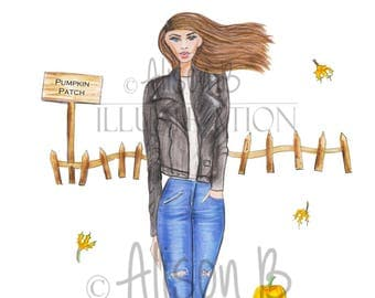 Fall decor, pumpkins, wall art, Autumn, illustration print, watercolor, sketch, fashion illustration, fall leaves
