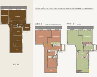 Interior Design - 2 Custom Options - Architecture - Custom Design  - Scaled Floor Plan - Home Design - Home Interior