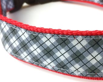 Gray Plaid Dog Collar | Plaid Dog Collar | Gray Plaid Leash | Gray Plaid Harness | Personalized Dog Collar