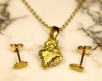 Gold Nugget Pendant & Stud Earrings - Natural Raw Gold Nuggets - Minimalist Gold Jewelry Set