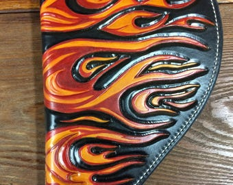 Flaming Hot Hand Tooled Leather Pistol Case