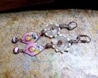 Earrings Bohemian/rustic chic pink, artisan Lampwork beads, enameled copper, copper metal.