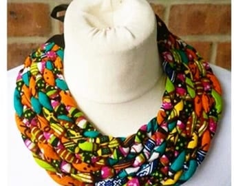 African Gold Print Twisted Ankara Knot Necklace