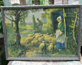 Vintage  Country Pastoral Sheep Print