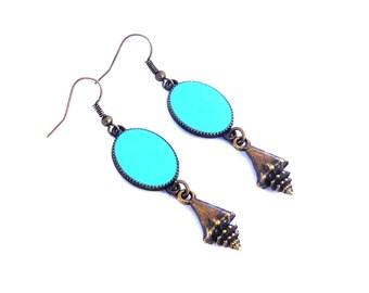 boucle d'oreilles coquillage marin mer ovale turquoise résine en laiton