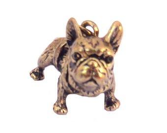 dog pendant french bulldog in gold antiqued 25mm