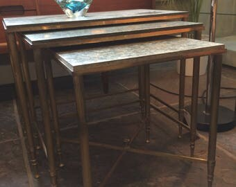 Set of 3 brass and marble Italian early 1960s nesting tables