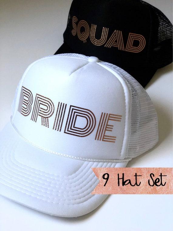 9 Bride Squad Hat SET| Bride Hats| Bachelorette Hats| 1 White Bride, 8 Black Squad Hats-with Gold Vinyl lettering