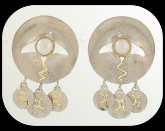 New MICHOU 925 Sterling Silver 22K Gold Vermeil White Pearl CHRYSALIS Collection EARRINGS