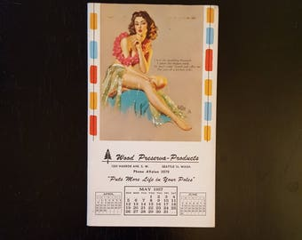 Vintage Seattle pin-up notepad, 1950's pin-up art by Earl Moran