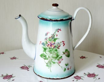 White & turquoise Enamel Coffee Pot manufactured in France in 1920-1940