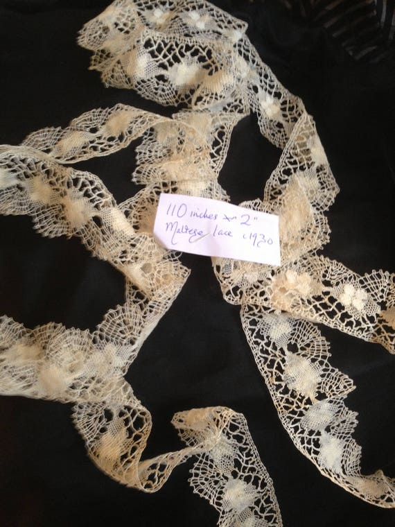 Cream maltese lace. Vintage 1930's. 110 ins x 2 inches