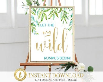 Where The Wild Things Are Let The Wild Rumpus Start Printable Sign, Nursery Decor, Baby Shower Sign, Birthday Sign, INSTANT DOWNLOAD