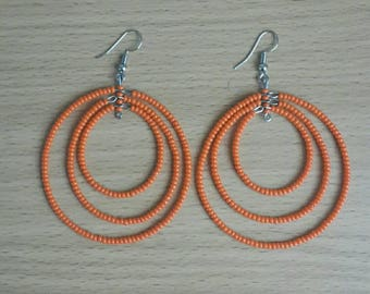 Beaded hoop earrings, orange hoop earrings, orange bead earrings, African jewelry, beaded earrings