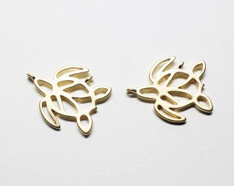 P0748/Anti-Tarnished Matte Gold Plating Over Brass/Turtle Pendant/16.7x14.1mm/2pcs