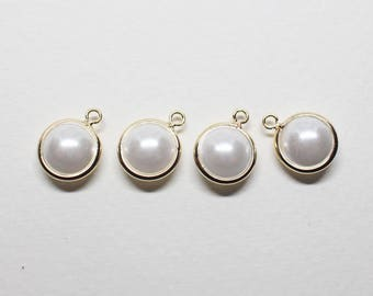 P0778-1/Anti-tarnished Gold Plating Over Brass+Acryl Pearl/Large Framed Pearl Pendant/8mm(without ring)/10pcs