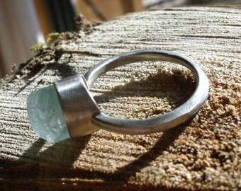 OOAK Australian aquamarine, 100% recycled sterling silver ring
