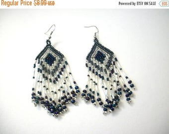 ON SALE Vintage 1960s Hand Made Glass Beads Over Sized Native Tribal Earrings 51017