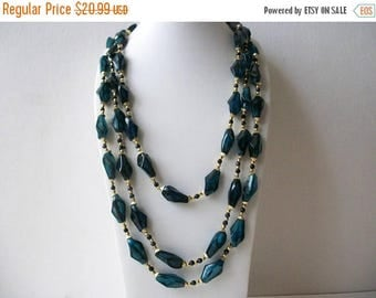 ON SALE Vintage HONG Kong Teal Black Gold Multi Strand Chunky Plastic Beads Metal Necklace 91017