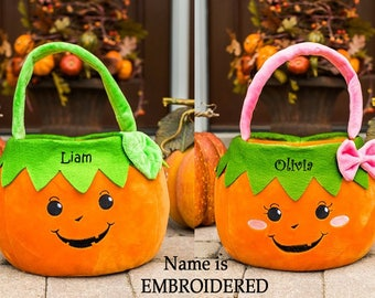 Monogrammed Pumpkin Trick Or Treat Bag, Embroidered Personalized Halloween Bags For Girls, Bag For Boys, Baskets, Buckets For Kids, Tote
