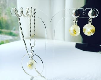 aesidhe.com | sterling silver necklaces with pearls encapsulated in a crystal resin sphere for eternity