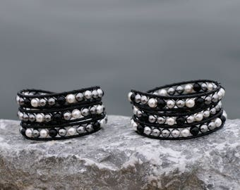50 Shades of Pearls Wrap Bracelet