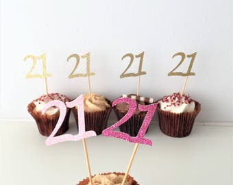 Cupcake Number Toppers, 21st Birthday, Twenty First, Set of 10 toppers, Party Decoration, Glitter Picks, Party Accessories,  Customised