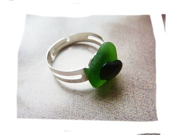 Nature ring sustainable organic pieces of polished sea glass