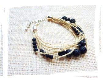 Natural hemp, lava stone and silver clasp bracelet