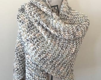 Cream metallic hand-knit shawl