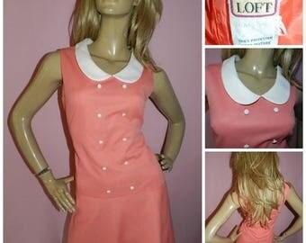 15% off Vintage 1960s Peach/Cream PETER PAN Collar drop waist Dolly Mod Scooter dress 12 60s KITSCH Modette