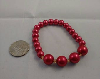 Red pearl and crystal bracelet, champagne crystal bead, bead bracelet jewelry, stretch bracelet