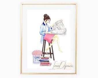 Fashion Sketch Print Book Lover, Bookish Print,Fashion Illustration Wall Art Print,Fashion Vanity Print,Btahroom Print,Home Decor