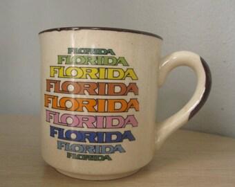 Vintage 80s Rainbow Florida Souvenir Ceramic Mug/Cup