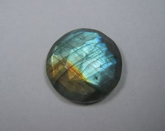 Natural Labradorite Rose Cut Round shape loose semi precious gemstone cabochon size 22 mm approx ET 2433 Labradorite Flashy