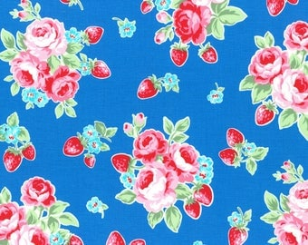 1/2 yard Lecien Japan Flower Sugar Berry Fall 2017 Collection |  Blue Floral Strawberries # 31512L-77