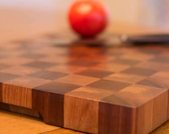 Wood Cutting Board, Walnut and Oak Wooden Checkerboard Design