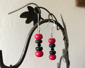 Black and red bead and Swarovski crystal sterling silver earrings Red earrings Black earrings Dangle earrings Handmade