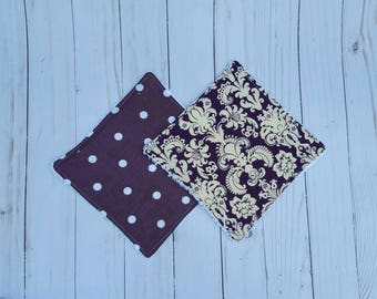 Purple washcloths- set of 2, baby shower gift girl,  reusable wipes, cloth wipes, wash cloths, bath accessories, baby girl, ready to ship