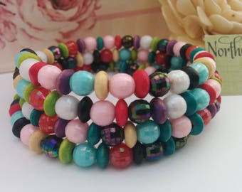 Beaded, Memory Wrap, Bracelet, Crackle Bead, Unique, Quirky, Summer, Fun, Funky,