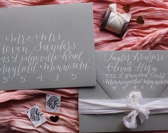 """Wedding Envelope Addressing """"Magnolia"""" Style, Wedding Calligraphy, Event Calligraphy, Envelope Calligraphy, Event Calligraphy"""