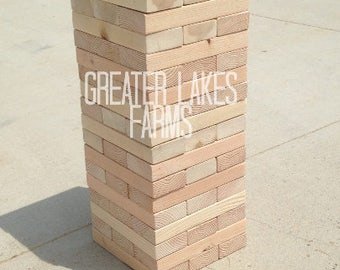 Giant Tower Large-Sanded, Ready to Ship (toppling tower, wedding game, wedding guest book)