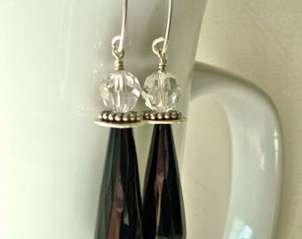 Long, Black Onyx and Clear, Faceted Crystal and Sterling Silver Dangle Earrings