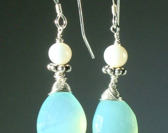 Aqua Blue Chalcedony with Sterling Silver and Freshwater Pearls Dangle Earrings
