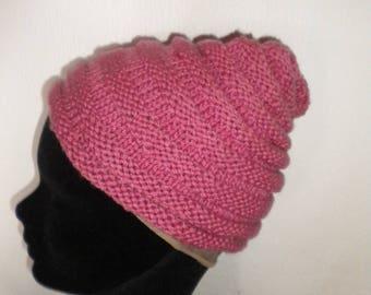 girl Hat hand knit Bergère de france pink color