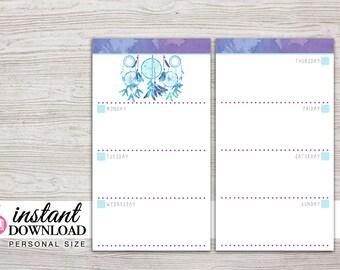 Planner Printable - Weekly Inserts - Undated - Filofax Pesronal - Kikki K Medium - 3.75 x 6.75 in - Design: Chasing Dreams