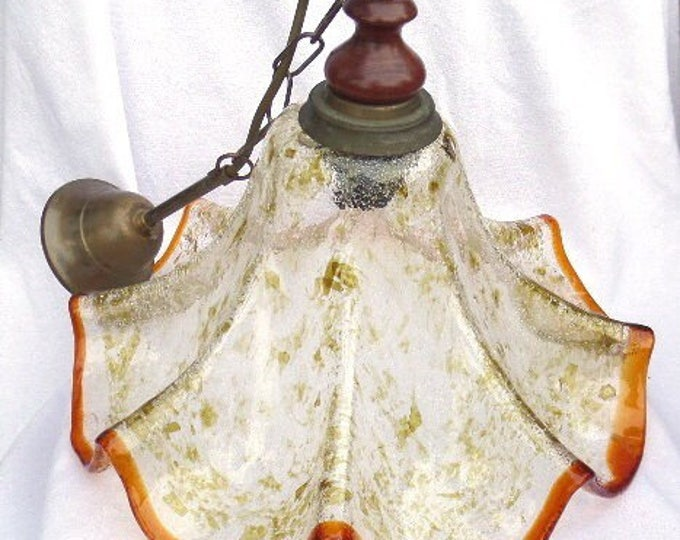 "Unique Art Glass Pendant Shade, 1920's Solid Hand Crafted Glass Shade, Mahogany Finial, Metal Chain and Rose, 16"" x 12"" (24"" Ceiling to Rim)"